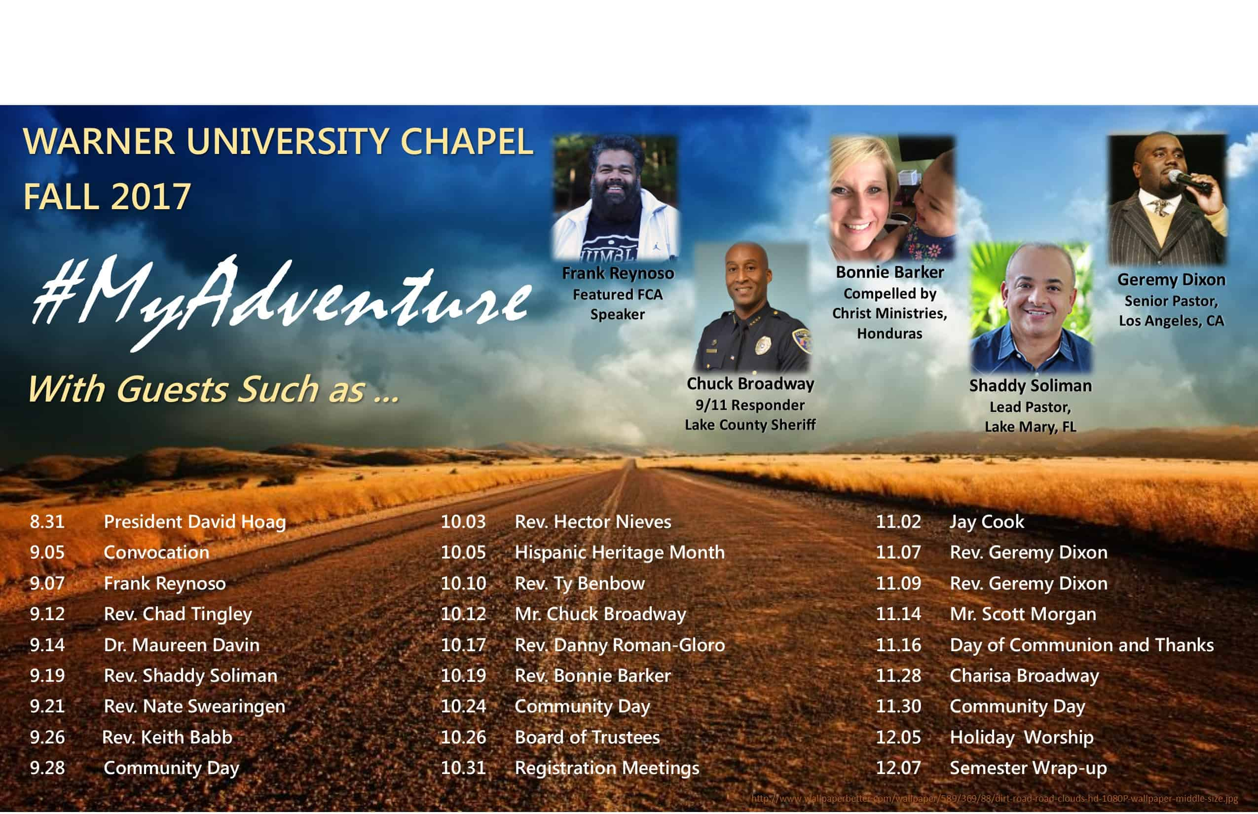 Remaining Chapel Schedule for Fall 2017
